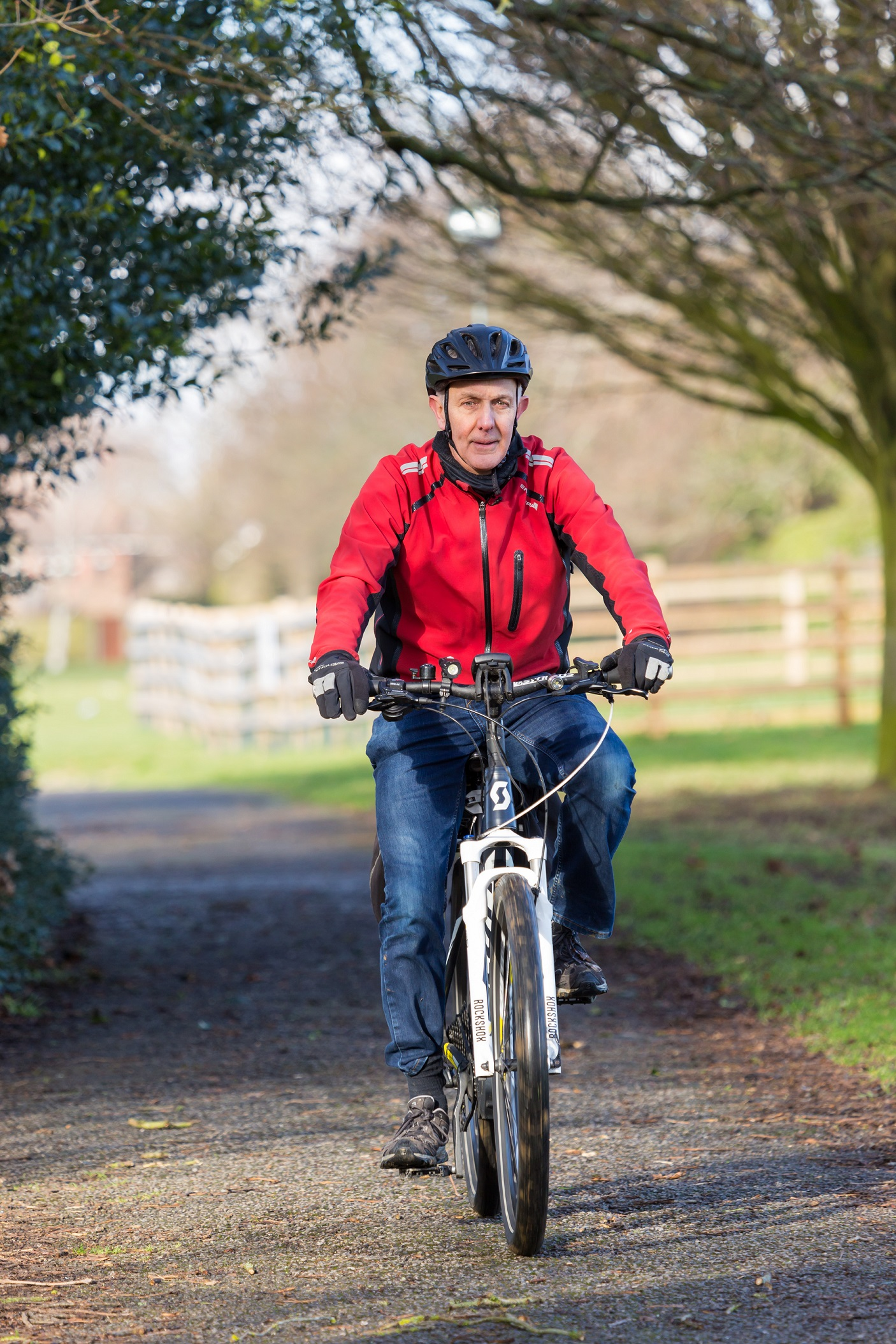 Paul, an e-bike rider in London, riding his e-bike in the park
